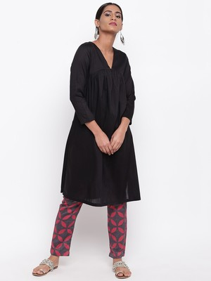 Black Slit Kurta Red Flower Pant