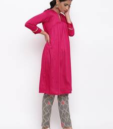 Pink Kurta Grid Foil Pant