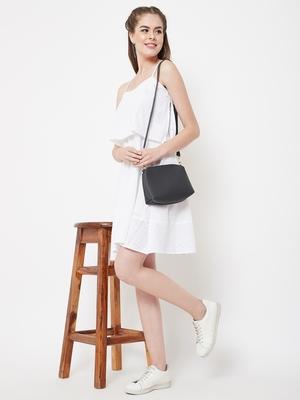 White plain cotton short-dresses