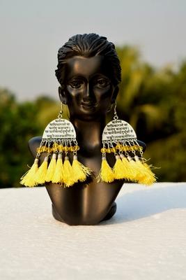 Scripted German Silver Oxidised Afghani Tribal Boho Party Wear Yellow Tassel Dangler
