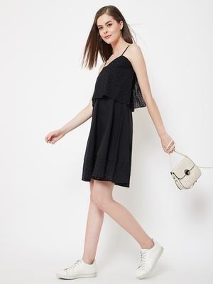 Black plain cotton short-dresses