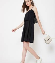 Black plain cotton short-dresses