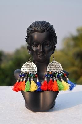 Scripted German Silver Oxidised Afghani Tribal Boho Party Wear Multicolour Tassel Dangler