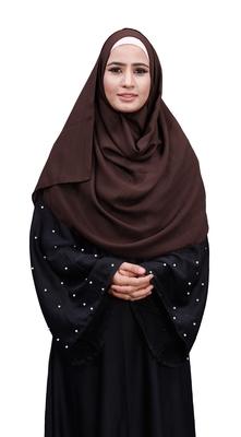 Justkartit Brown Color Linen Cotton Plain Scarf Hijab For Women