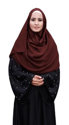 Justkartit Maroon Color Linen Cotton Plain Scarf Hijab For Women