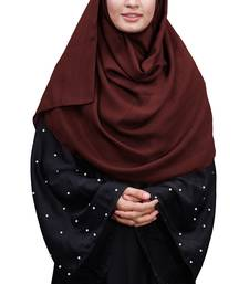 Justkartit Maroon Color Linen Cotton Plain Scarf Hijab For Women