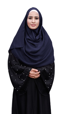 Justkartit Navy Blue Color Daily Wear Linen Cotton Plain Scarf Hijab For Women