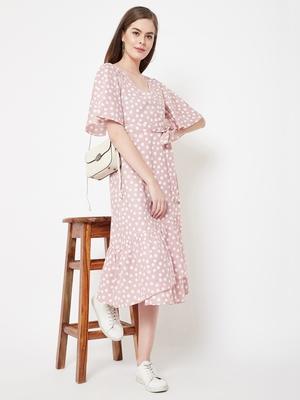 Pink printed crepe long-dresses