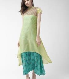 Green printed cotton maxi-dresses