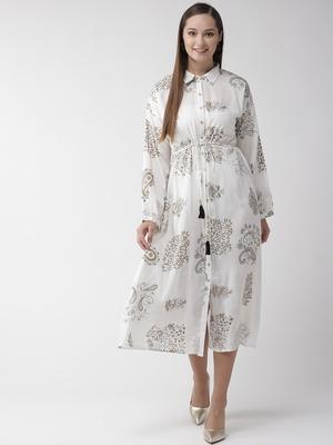 White printed viscose rayon maxi-dresses