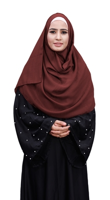 Justkartit Occasion Wear Salmon Color Plain Scarf Hijab For Women