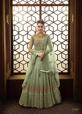 Royal Villa Light Green EMBROIDERED NET SEMI STITCHED SALWAR WITH DUPATTA