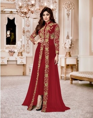 ROYAL VILLA RED EMBROIDERED FAUX GEORGETTE SALWAR SEMI STITCHED