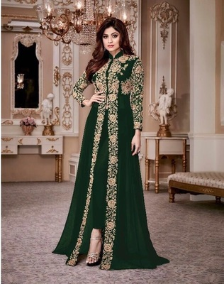 ROYAL VILLA GREEN EMBROIDERED FAUX GEORGETTE SALWAR SEMI STITCHED