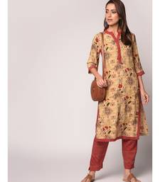Beige Floral Straight Kurta with Contrast Pant