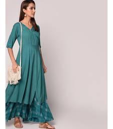green Angrakha Style Kurta With Flary Palazzo