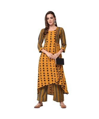 Mustard Printed Kurta with Coordinate Palazzo Set