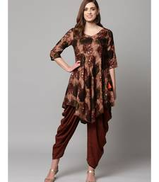 Brown Printed cold shoulder Kurti with Coordinated Cowl Pants