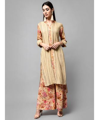 Brown Stripe Printed kurti with heavy flare floral Plazzo