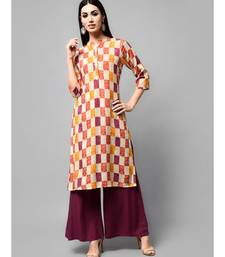 multicolor Printed Kurti Solid Plazzo Set