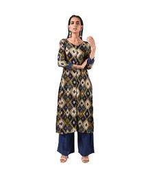 Blue Printed Kurti and Coordinated Plazzo Set