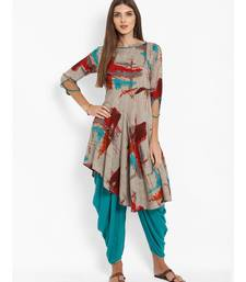 Grey Cowl Pant With Asymmetrical Kurti
