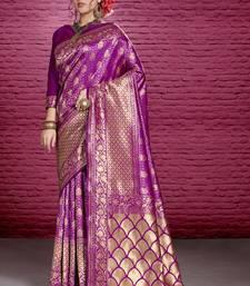 Magenta woven tanchhoi saree with blouse
