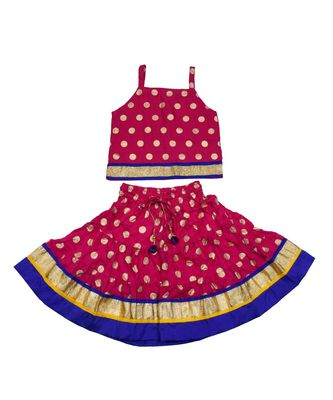 Baby Girls Skirt and Top Self Design Hand Block Gold Print