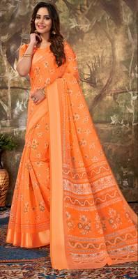 Orange Cotton Woven Work Traditional Saree