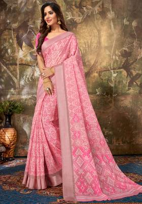 Pink Cotton Woven Work Traditional Saree