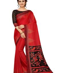 Red printed linen saree with blouse