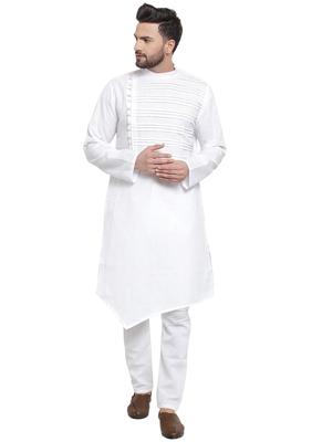 Designer White Linen Kurta Pajama