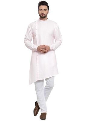 Designer Pink Linen Kurta With Aligarh Pyjama For Men By Treemoda