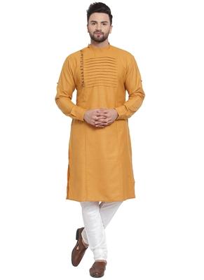 Designer Yellow Linen Kurta Pajama