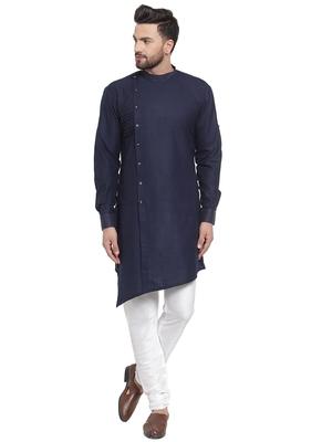 Designer Blue Linen Kurta Pajama
