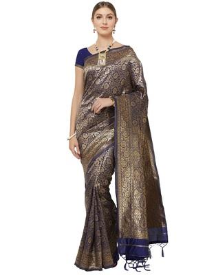 3853 Indian Sari Saree Traditional Ethnic  Navy Blue Woven Banarasi Art Silk