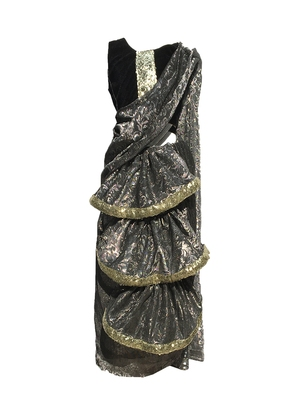 Grey self designed mixed blended with velvet blouse stitched Pre stitched saree