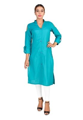 Turquoise plain Cotton kurti