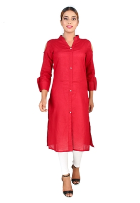 Maroon plain Cotton kurti