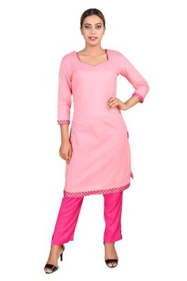 pink plain Cotton kurti