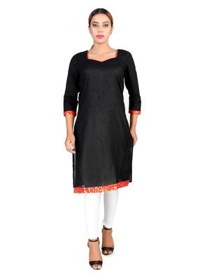 Black plain Cotton kurti