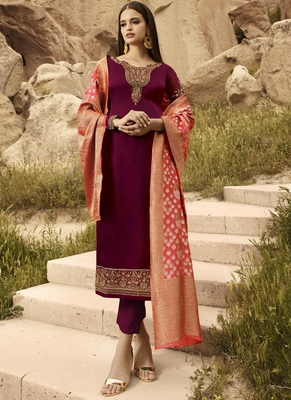 Maroon And Peach Embroidered Pants Suit