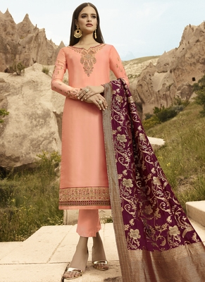 Peach And Maroon Embroidered Pants Suit