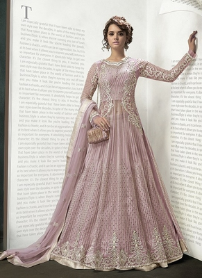 Baby Pink Net Anarkali Suit
