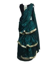 Green Black self designed mixed blended with velvet blouse stitched Pre stitched saree