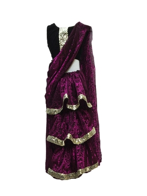 Purple self designed mixed blended with velvet blouse stitched Pre stitched saree