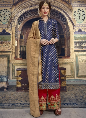 Blue Jacquard Silk Pakistani Style Suit