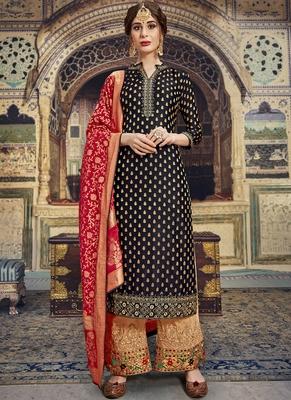 Black Jacquard Silk Pakistani Style Suit