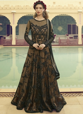 Black Golden Traditional Embroidered Anarkali Gown