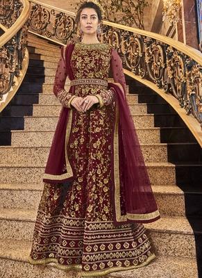 Maroon Net Anarkali Salwar Kameez